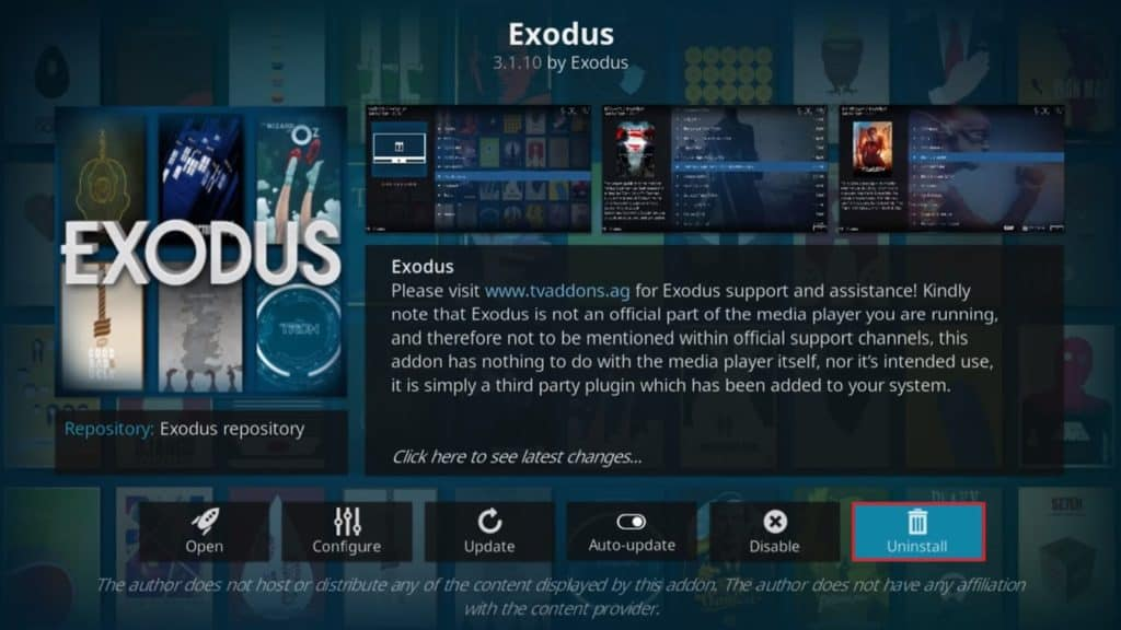 Uninstall Exodus