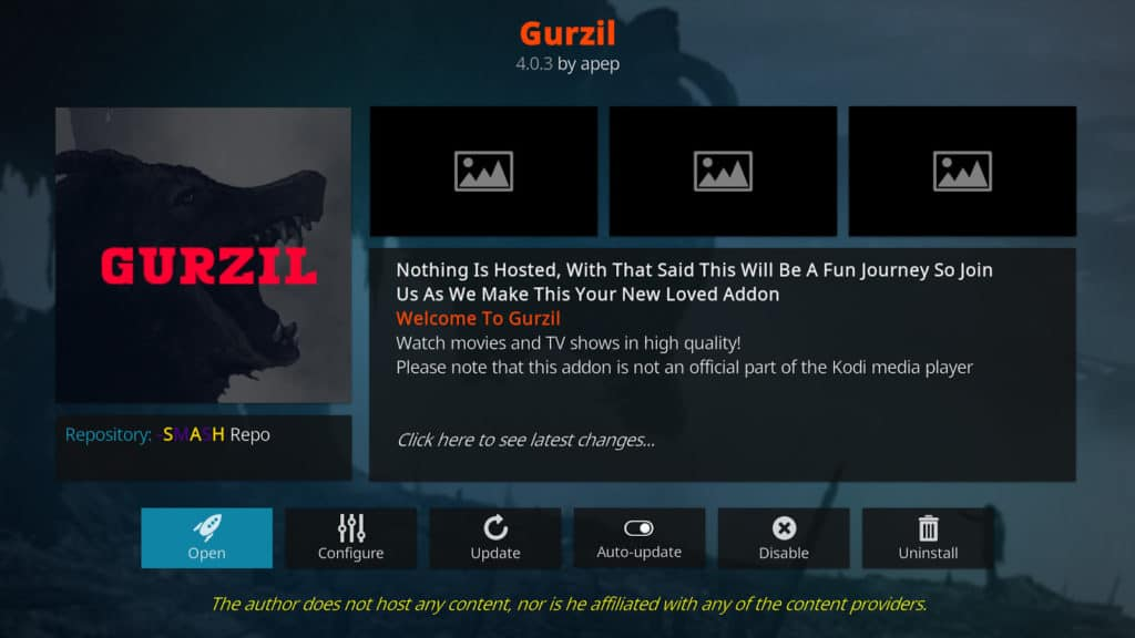 Gurzil Kodi add-on