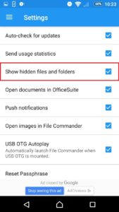 View hidden files in Android step 2