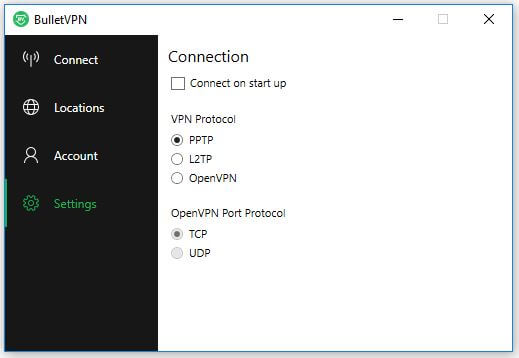 The BulletVPN Settings screen.