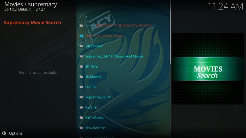 Supremacy menu