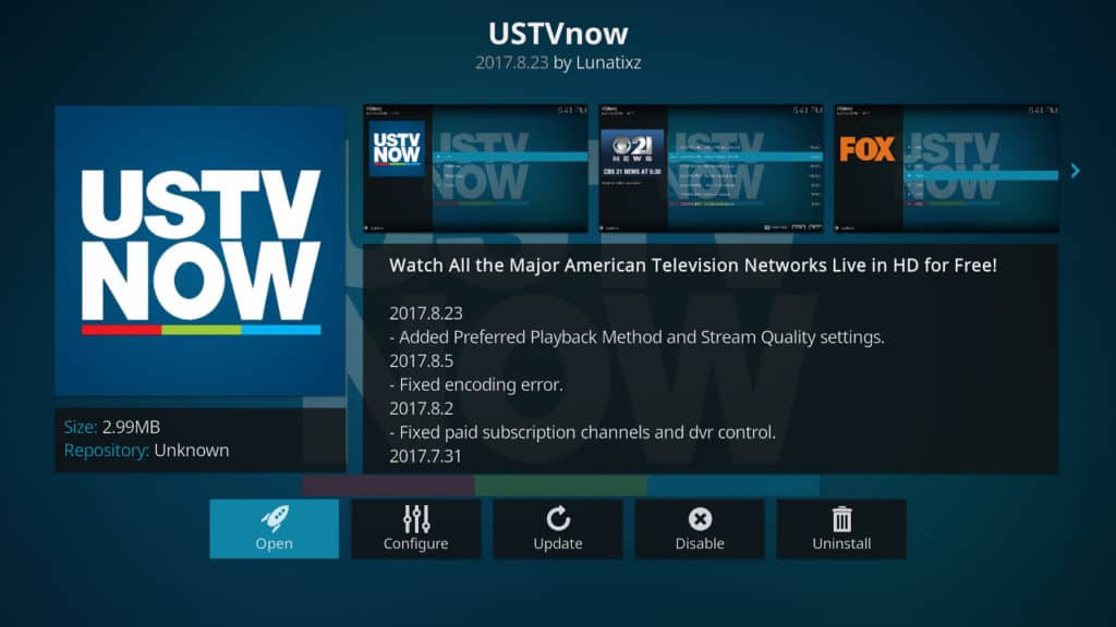 USTV Now Kodi addon