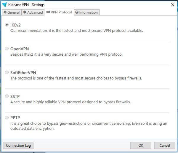 The VPN Protocol screen.
