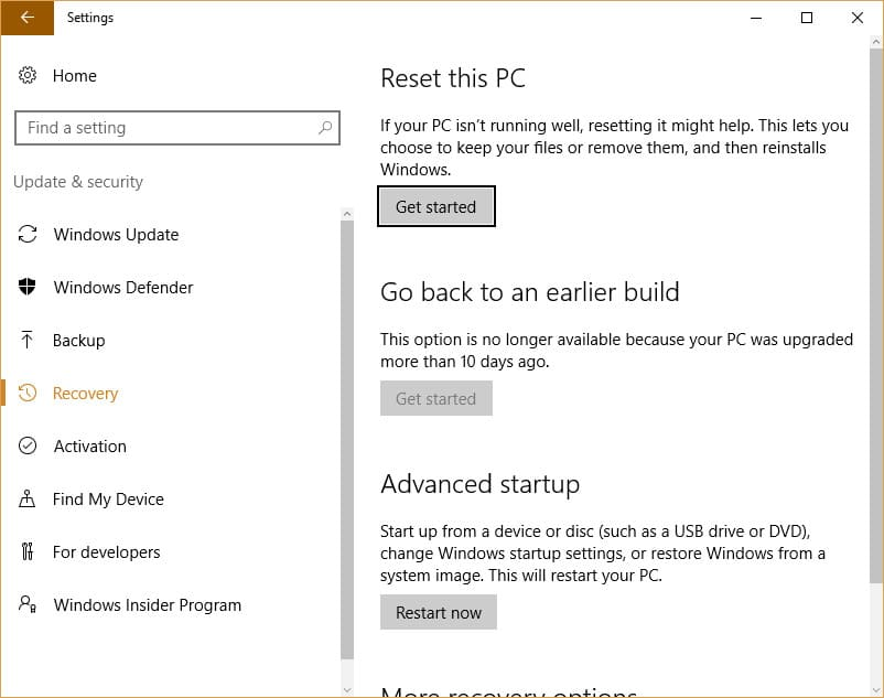 Windows 10 System Restore, Refresh, Reset, Fresh Start