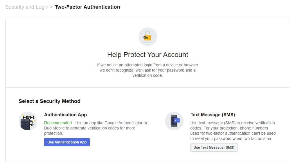 Two-factor authentication options.