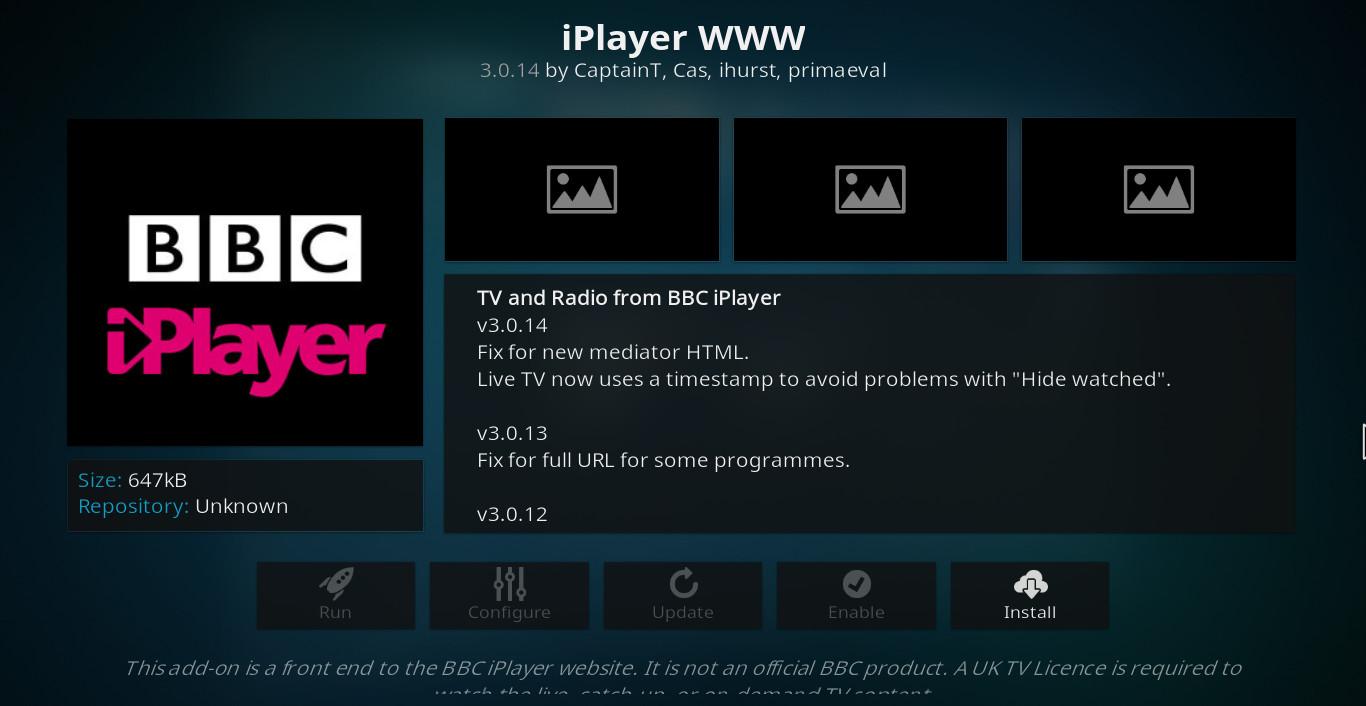 BBC iPlayer Kodi addon
