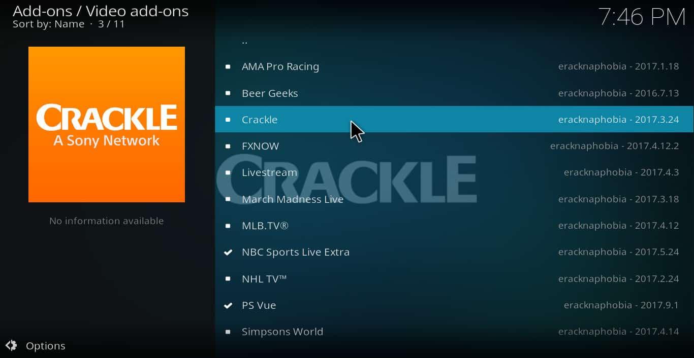 Crackle Kodi addon: how to install and use Crackle on Kodi | Comparitech