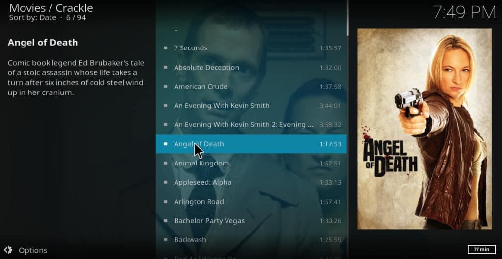 Crackle movie menu