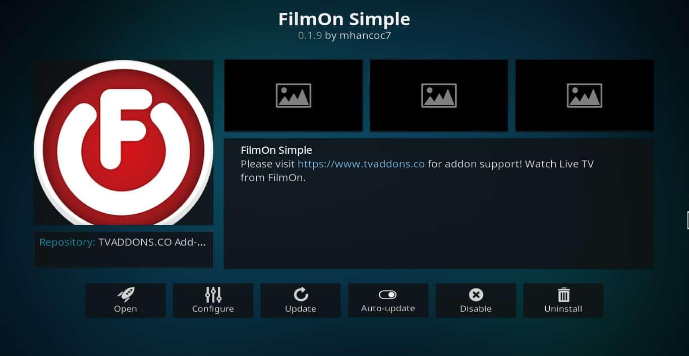 FilmOn Simple Kodi addon