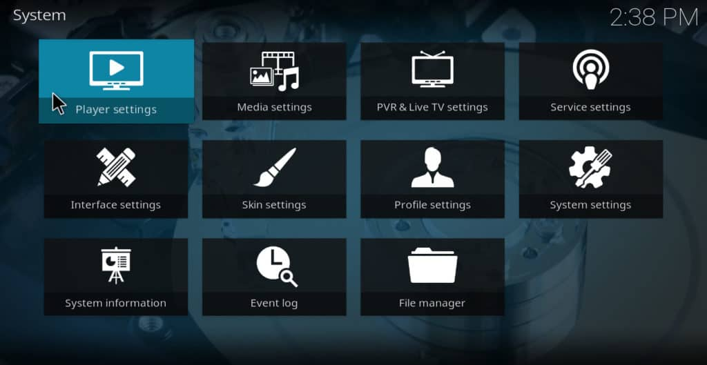 Kodi Player Settings