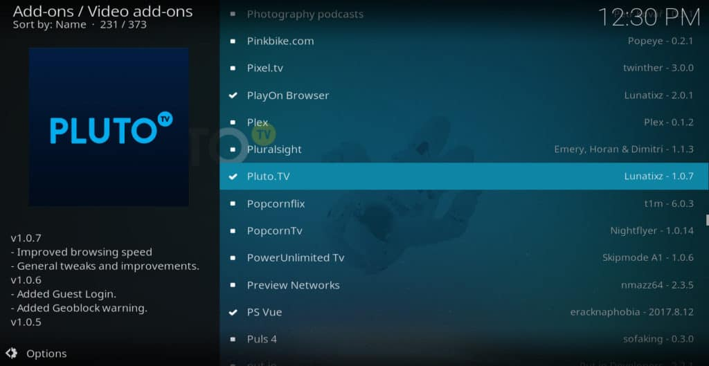 Pluto.tv addon selection