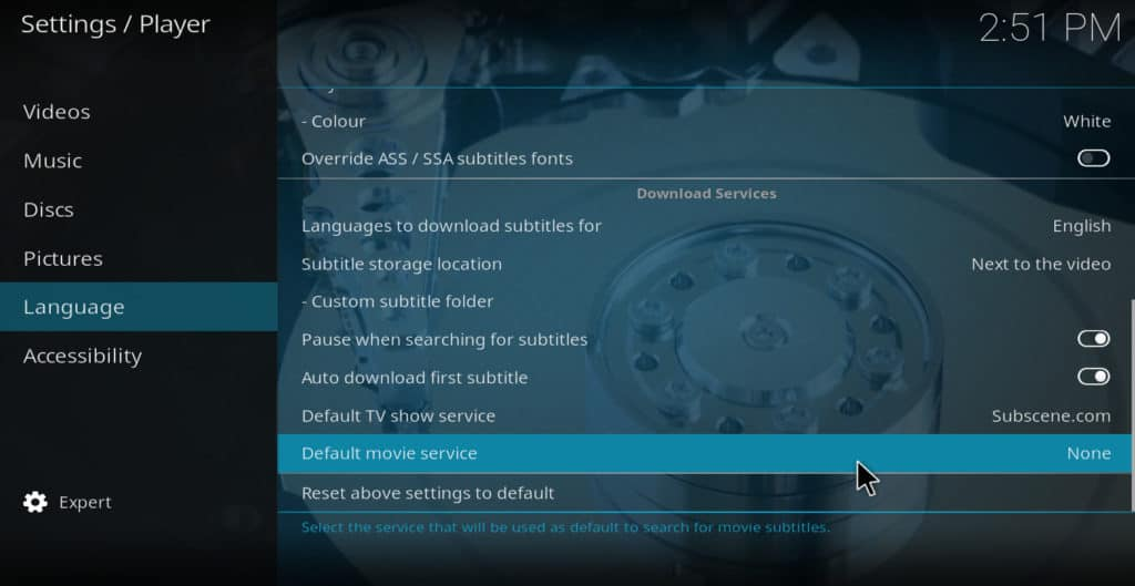 Kodi default movie service