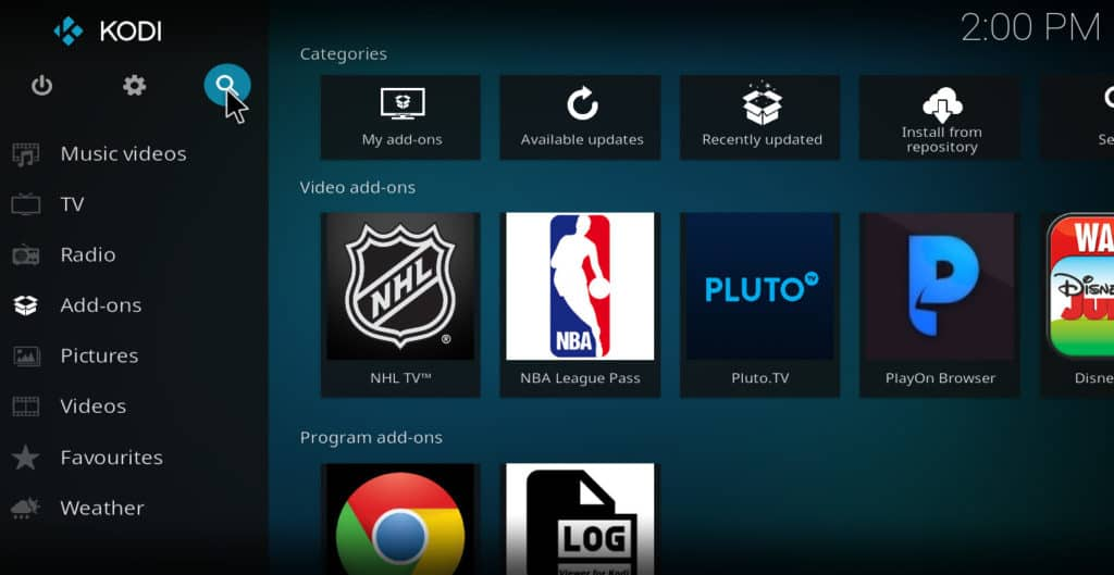 "Kodi ""magnifying glass"" search icon"