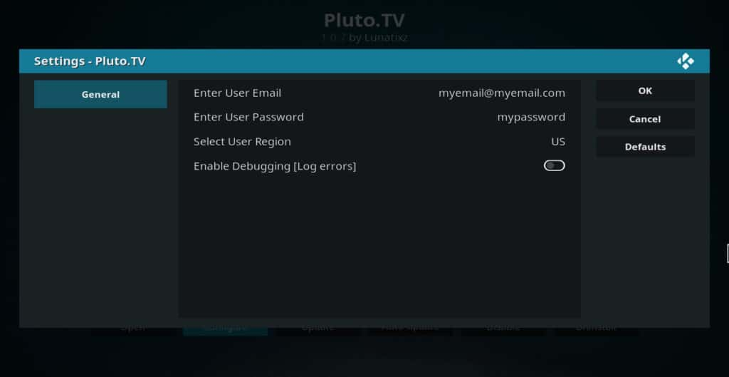 Pluto TV addon settings