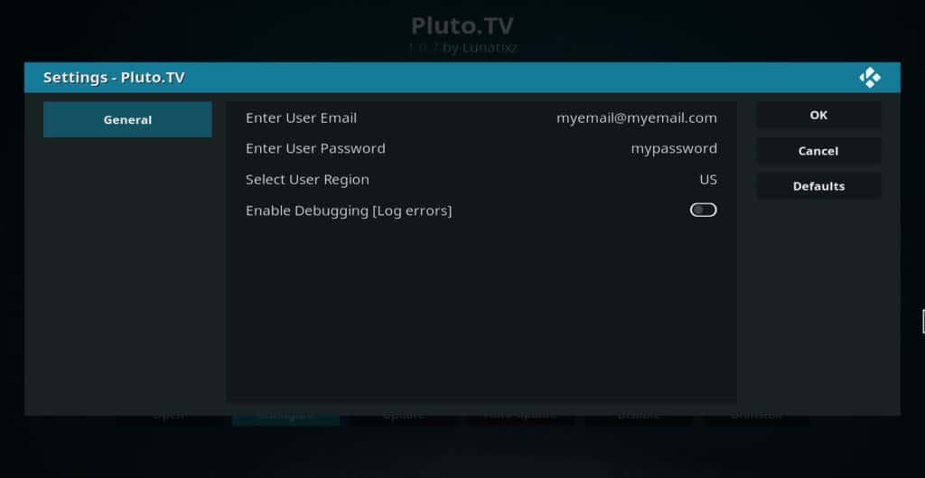 Pluto TV addon settings