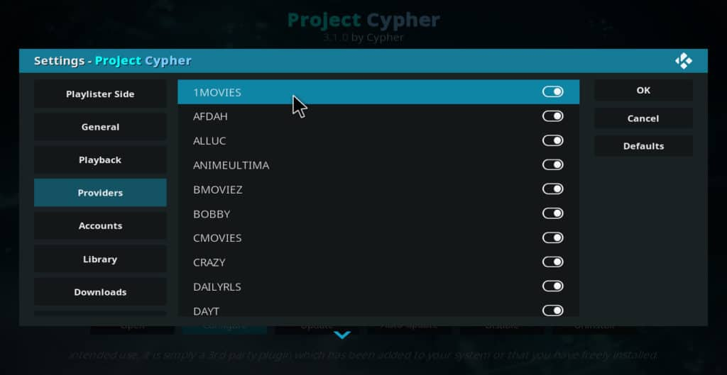 "Project Cypher ""providers"" screen"