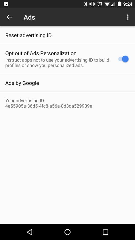 google ID opt out android