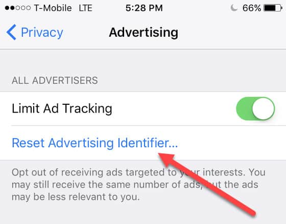 advertising identifier iphone opt out