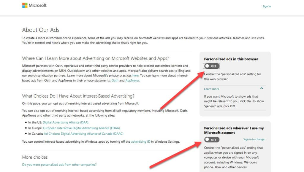 microsoft ad tracking opt out