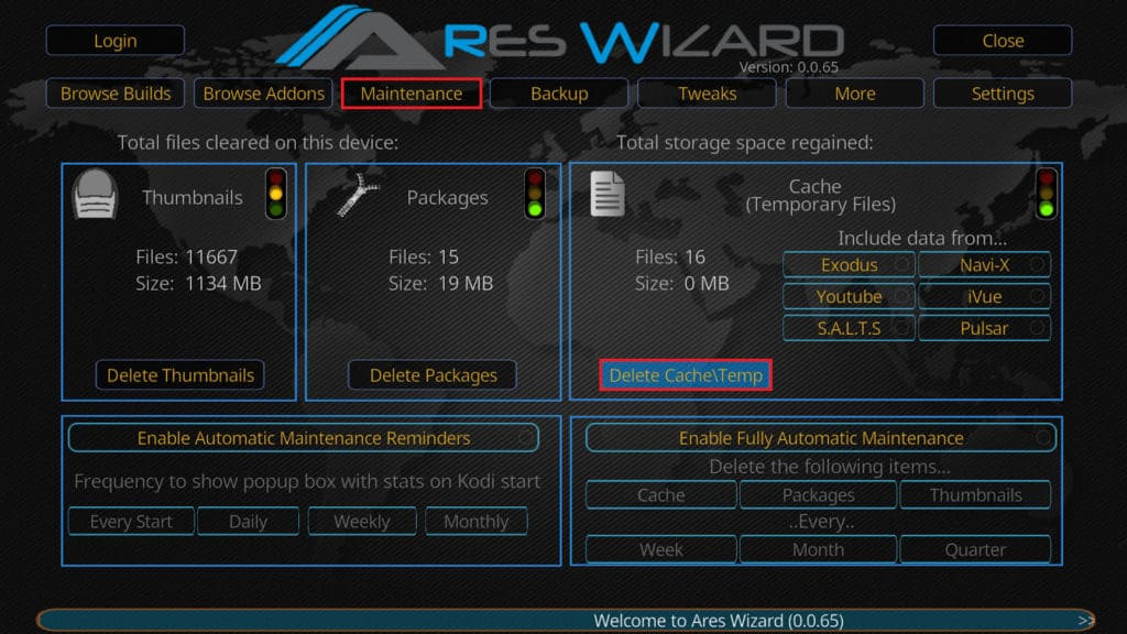 Clear Kodi's cache with Ares Wizard