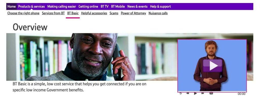 The BT Basic homepage.