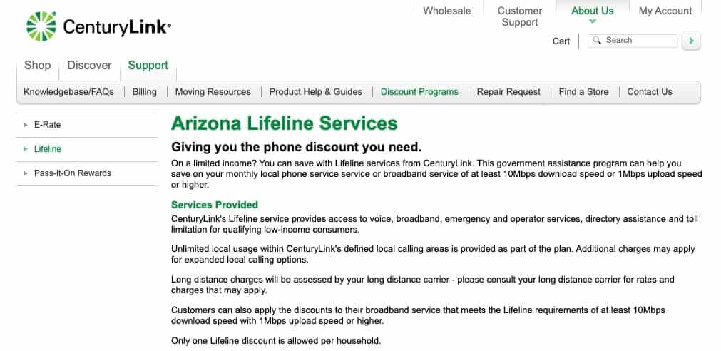 CenturyLink Lifeline program.