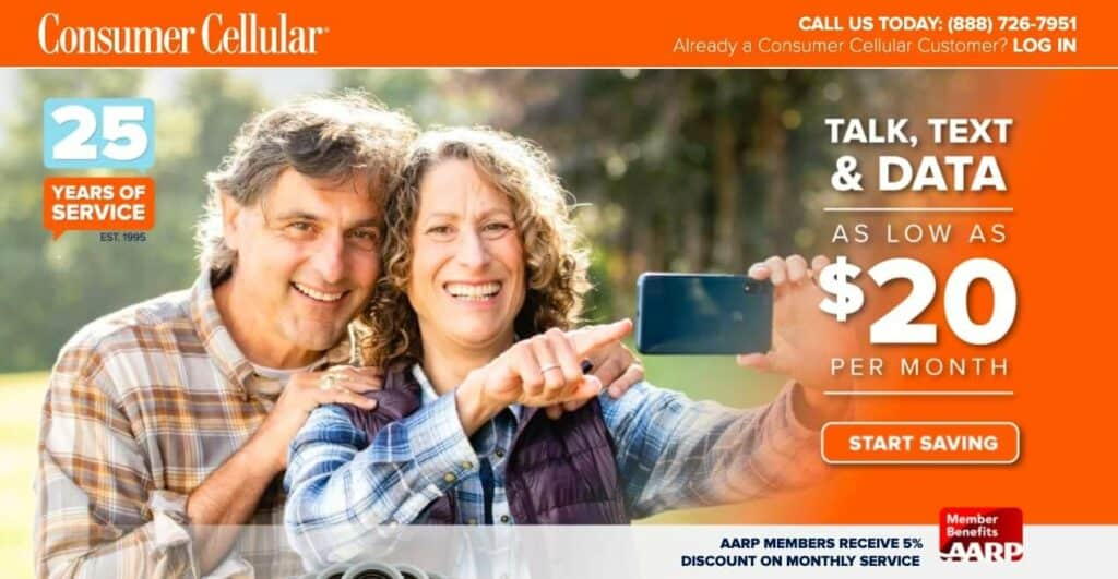 Consumer Cellular AARP discount page.