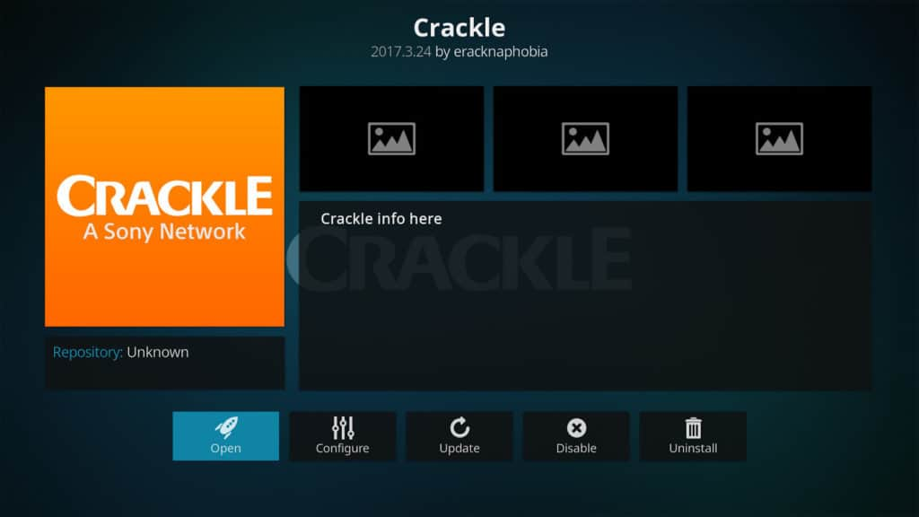 Official Crackle Kodi addon