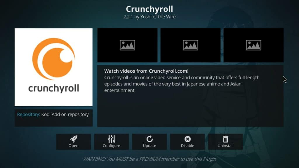 Official Crunchyroll Kodi addon