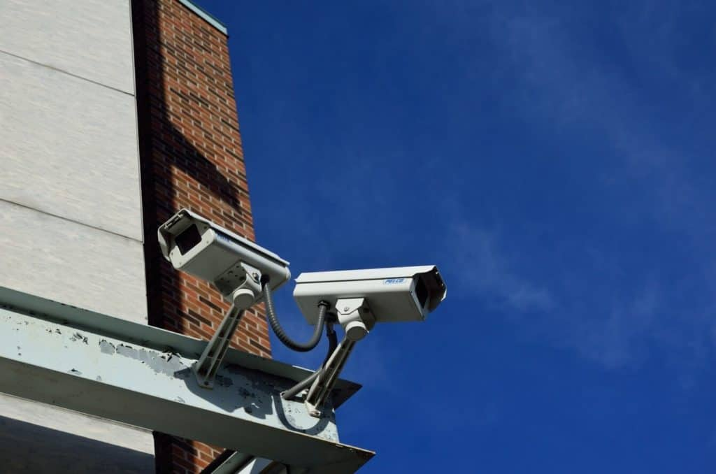 A set of CCTV cameras for employee monitoring.