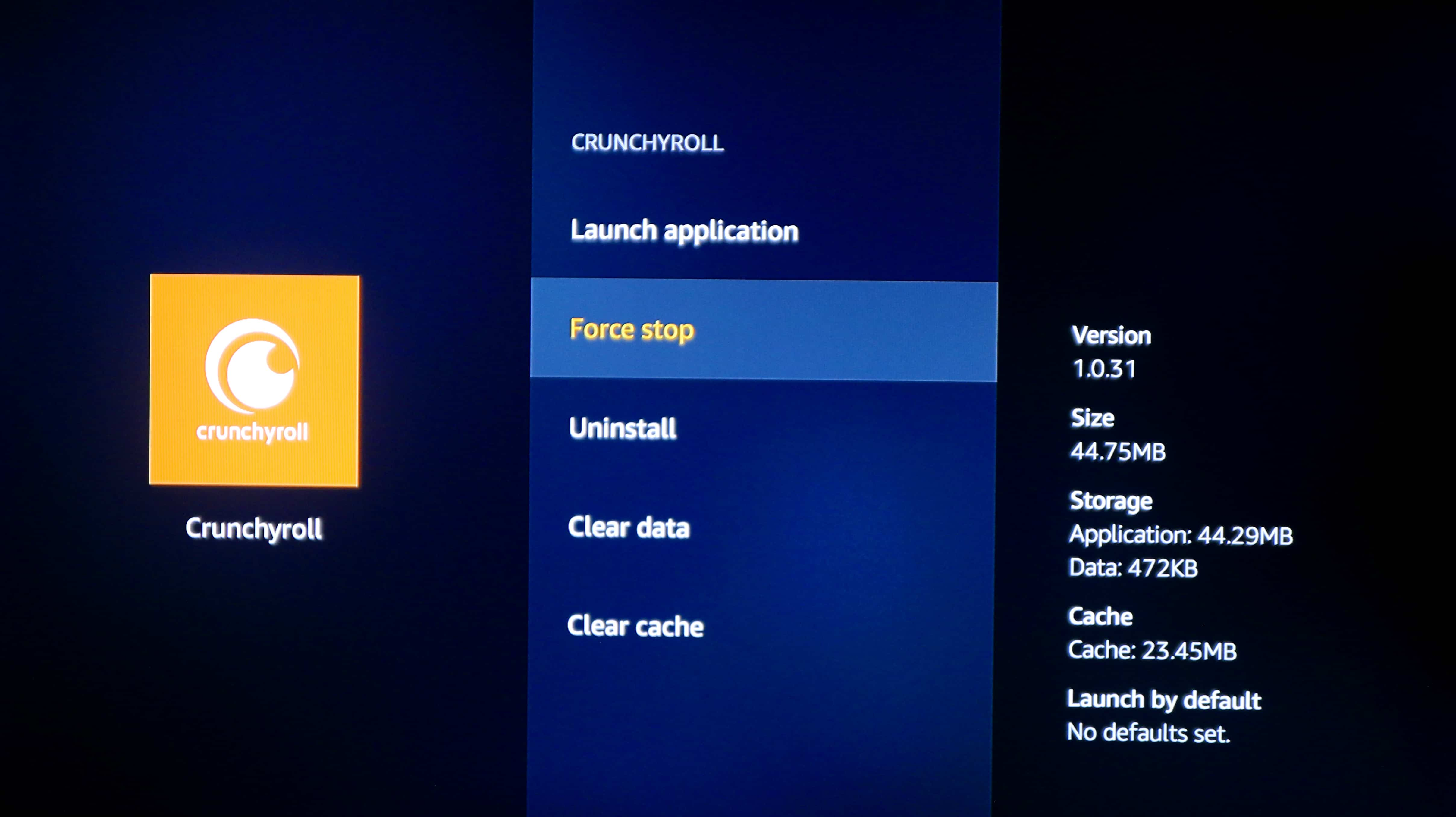 fire tv force stop uninstall clear cache data
