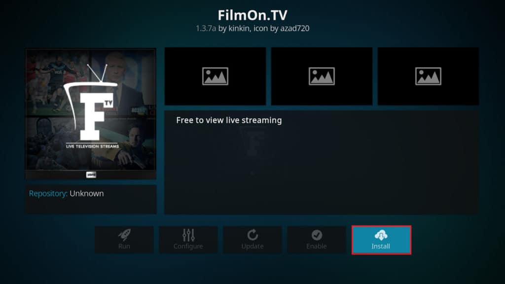 Install FilmOn for Kodi