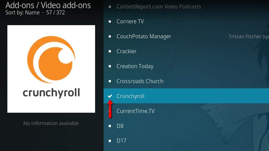 After The Crunchyroll Kodi Addon Is Installed Icon Will Change To A Check Mark As Above
