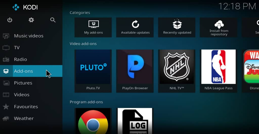 Addons selection from Kodi main menu