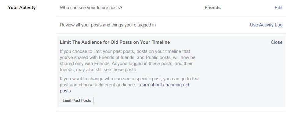 Limit past posts option.