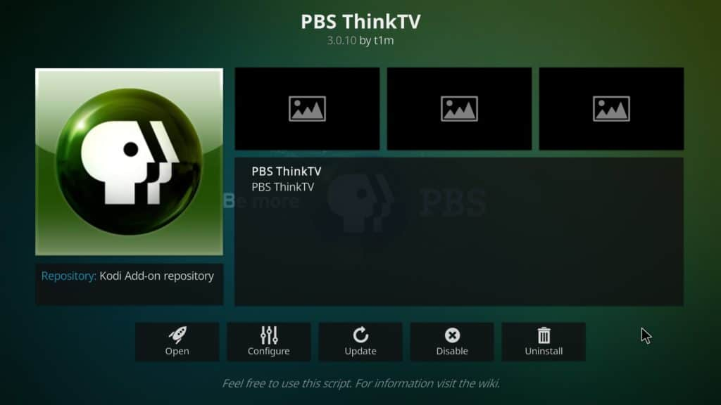 PBS ThinkTV Kodi addon