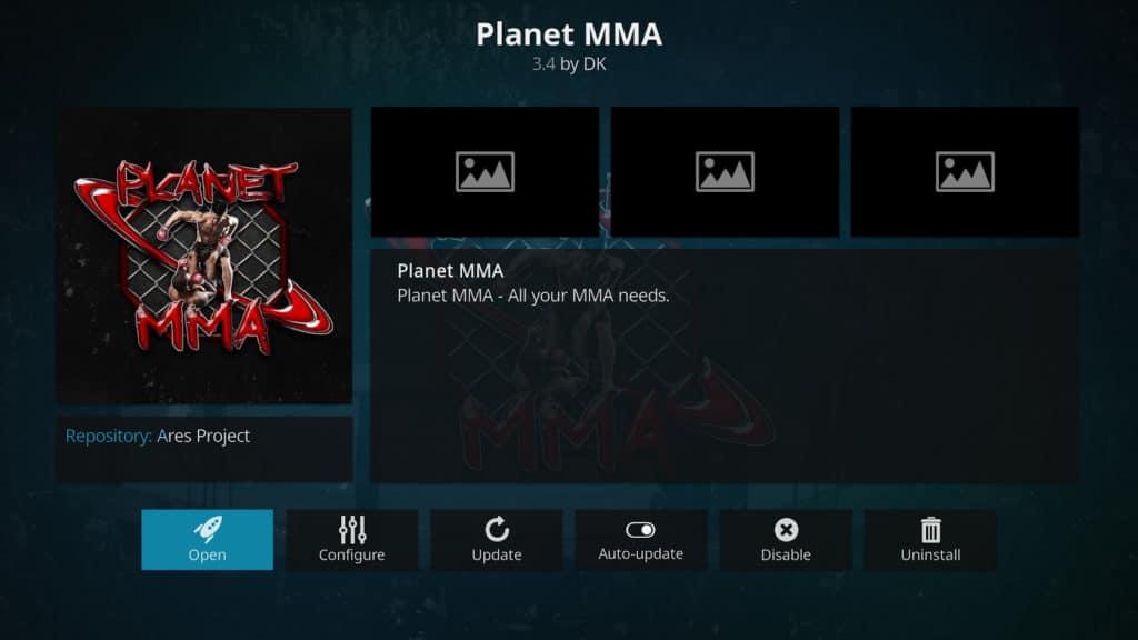 Planet MMA Kodi addon