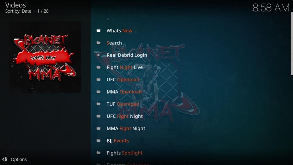 Planet MMA menu