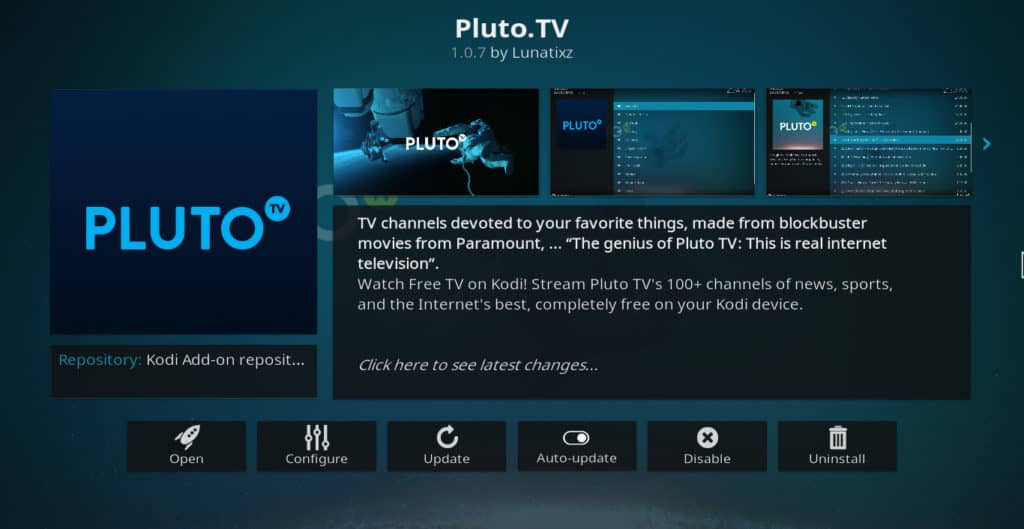 Pluto.tv Kodi addon information screen