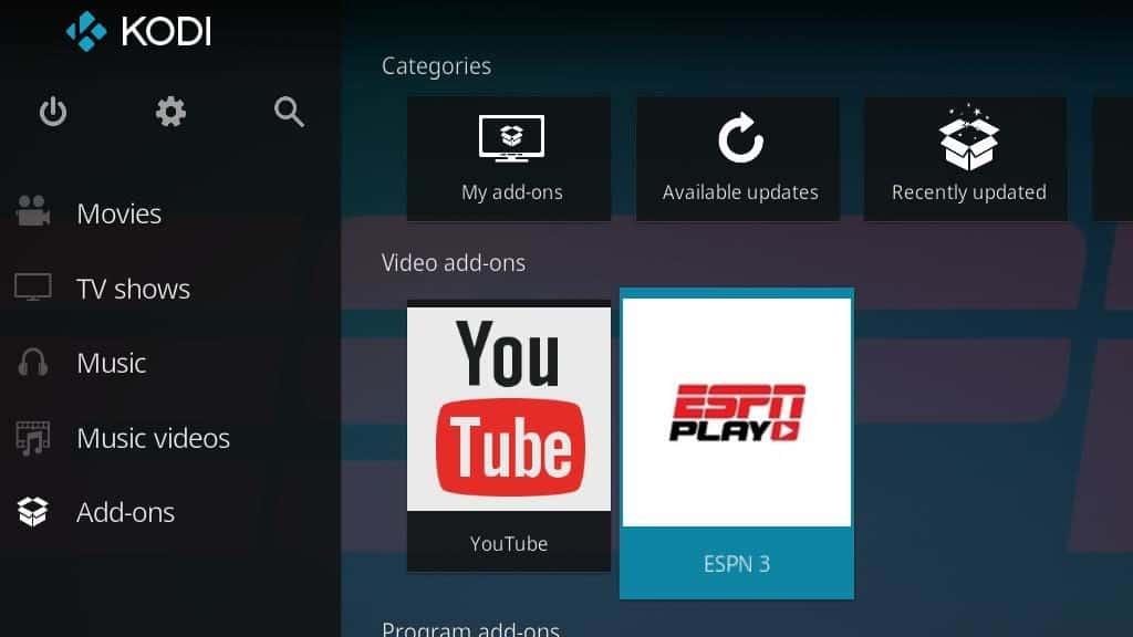 ESPN 3 Kodi Addon - Configure 1