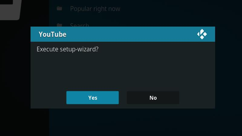YouTube Kodi Addon - Setup Wizard