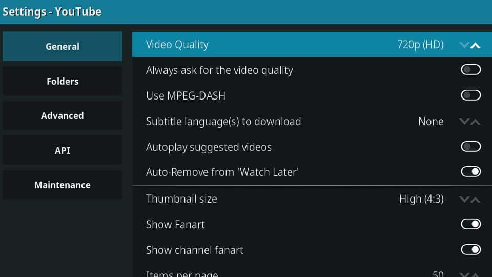 YouTube Kodi Addon - Other Settings