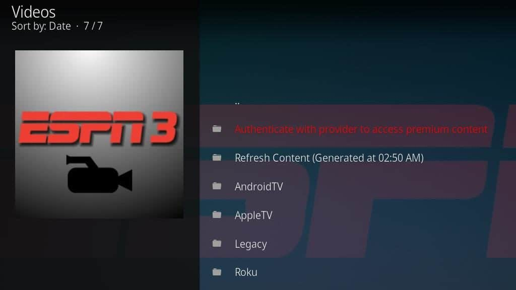 ESPN 3 Kodi Addon - Configure 2
