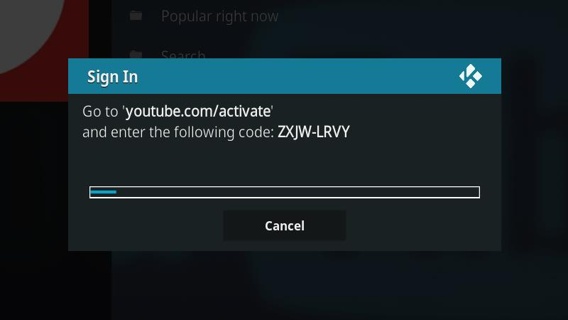 YouTube Kodi Addon - Link Account