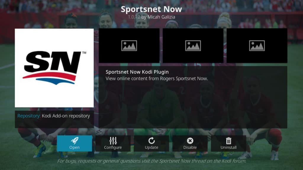 Official Sportsnet Now Kodi addon