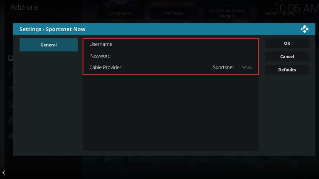 Configure the Sportsnet Now Kodi addon