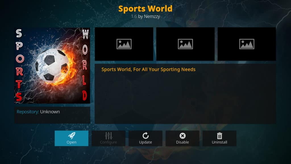Sportsworld Kodi addon