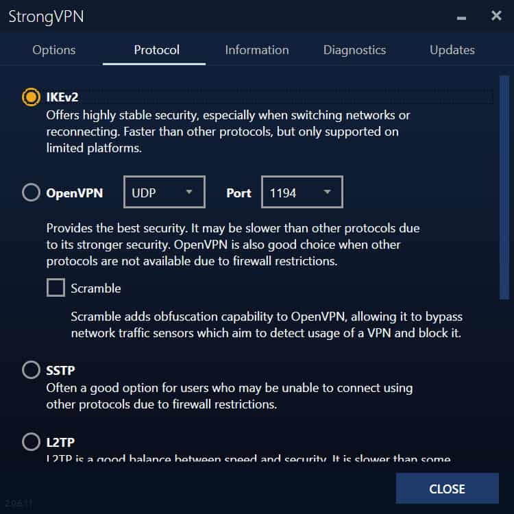 strongvpn desktop settings