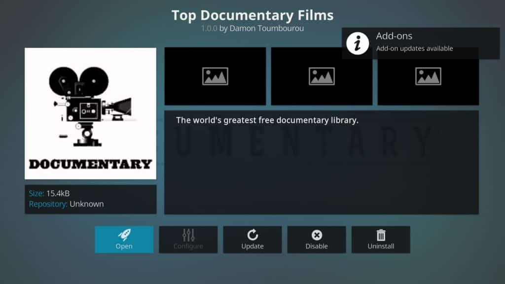 Top Documentary Films Kodi addon