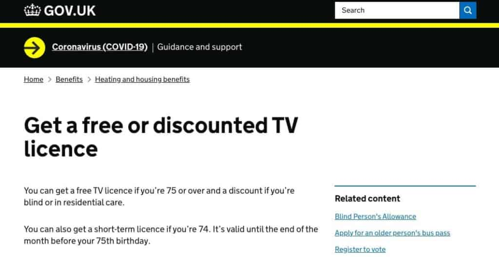 UK TV license page.